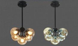 Lampes en verre vintage en Ligne-Vintage Art Plafonnier Hôtel Salon Villa Décor LED Lustre Pendant Lamps E27 Industriel Lustre En Verre avec Billes De Verre