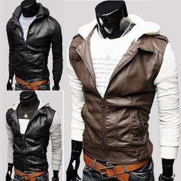 Wholesale Korean Paragraph Motorcycle Jacket - Men Splicing sleeve Korean PU leather jacket, knitting sleeve jacket short paragraph Slim Hooded men's motorcycle leather clothing y91