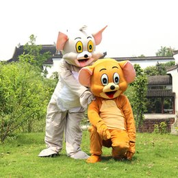 Wholesale Mouse Jerry Costume - New style Tom Cat and Jerry Mouse Mascot costume Fancy Dress Outfit Chirstmas Adult Size Cartoon Costume factory direct sale
