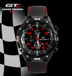 Wholesale Grand Gt - Free DHL New Men Sport Watch Grand Touring GT Luxury Brand Silicone Strap Quartz Wrist Watch Movement Military Watches