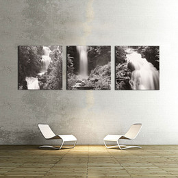 Wholesale Painting Home Images - Wall Art 3Pcs Black and White Images Waterfall canvas prints Home Decoration living room modular painting Print cuadros