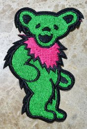 Wholesale Grateful Dead Patches - HOT SALE! ~ Green Grateful Dead Grooving DANCING BEAR Iron On Patches, sew on patch,Appliques, Made of Cloth,100% Quality