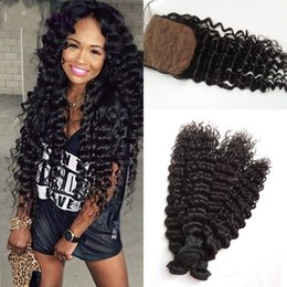 Wholesale Hair Silk Products - Malaysian Deep Wave G-EASY Hair Products With Closure Bundle 3pc Hair Weave Bundles With Silk Base Closure