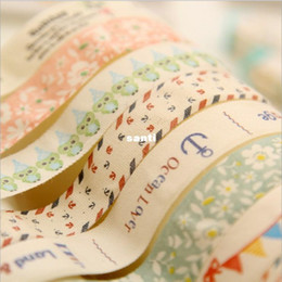 Wholesale Decorative Fashion Fabric - Fashion Hot DIY Kawaii Fabric Cloth Masking Tape Sweet Vintage Eiffel Tower Flower Decorative Tapes for Home Decoration