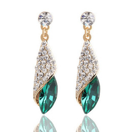 Wholesale Glass Gemstone Earrings - The big European and American fashion full diamond gemstone glass droplets earring Haiyangzhixin same paragraph temperament earrings jewelry