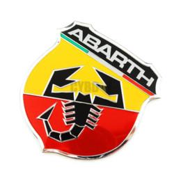 Emblèmes 3m logo en Ligne-3D 3M Voiture Abarth Metal Adhésif Badge Emblème logo Sticker Décalque Scorpion Pour Tous Fiat Abarth Punto 124/125/125/500 Style De Voiture