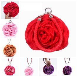 Wholesale handbag rose women wholesale - Women Rose Bridal Evening Bags Mini Wrist Flower Purse Handbags Cute Candy Color Lady Bags Party Wedding Bags OOA3028