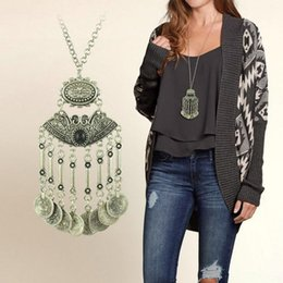 Wholesale Silver Chain Turkey - Wholesale-Hot Selling Womens Stylish Pretty Boho Silver Coins Statement Necklace Long Tassel Sweater Chain Necklace Turkey Jewelry