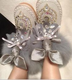 Wholesale Fox Ribbon - 2017 Europe tide original Christmas special super cute adorable rabbit fox fur boots shoes diamond free shipping