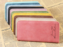 Wholesale Cheap Clutch Purses Leather - bulk wholesale vintage Leather wallets for lady retro matte leather long wallet 10pcs a lot cheap purse Z&M864