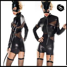 Tuta nera in lattice online-Nuovo popolare sexy Catwomen nero Catsuits tute Cosplay con maschera Black Cat in pelle lattice donne costume cameriera abiti flessibili