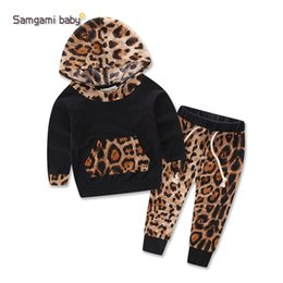 Wholesale Shirt Long Dress Girl - Newborn baby Girls Leopard clothing set kids infant baby girls clothes hooded t-shirt top + pants 2pcs set girls outfit dress 4set lot