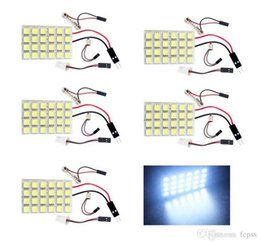Wholesale 12v Led Cob Panel Lights - 24 SMD COB LED T10 4W 12V Light Car Interior Panel Lights Dome Lamp Bulb+Parts