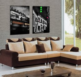 Wholesale Picture Frame Building - Modern City Building Bar Street Painting Giclee Print On Canvas Wall Art Home Decor Set20200