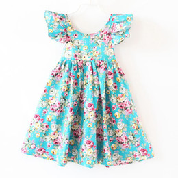 Wholesale Summer Dresses For Girls - Retail 2016 New Summer kids girls teal floral baby girls beach dress summer backless baby dress for party cotton fluffy sleeve baby clothes