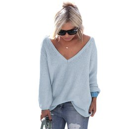 Wholesale Oversized Sweaters Wholesale - Wholesale- Sexy Women Knitted Sweaters Pullovers Long Sleeve V Neck Oversized Women Sweater Plus Size LJ5667C