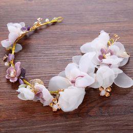 Wholesale Silk Agate - Silk Flower The Bride's Hairstyle Beautiful Wedding Dress The Bride Wedding Hair Accessories Pink Flower Jewelry Fashion SL