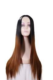 Wholesale Long Glamorous Wigs - Ombre Dark Brown 2 Tones Black Roots Long Straight Wig for Glamorous Women