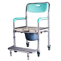 Wholesale Aluminum Wheelchairs - Wheelchair Potty Chair Aluminum Alloy Elderly Stroke Hemiplegia Handicapped Disabled People Toilet Chair Pregnant Woman Shower Chair 4 Wheel