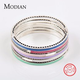 Wholesale 14k Solid Gold Snake Chain - MODIAN Authentic 100% Solid 925 Sterling Silver Bracelet Fashion Chain Green Blue Enamel Bangle Cubic Zirconia Luxury Jewelry