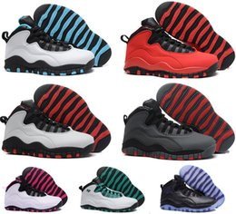 Dame ville en Ligne-Femmes chaussures de basket-ball sneakers air retro 10 Steel Grey Powder Blue Lady Liberty Paris CHI Rio LA Hornets City Chicago GS basket ball