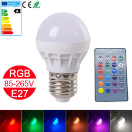 Wholesale Changing Spotlight Bulbs - Brand NEW RGB LED Lamp E27 3W LED Bulb RGB Soptlight 85-265V Energy Saving 16 Color Change LED Lampara With IR Remote Controller