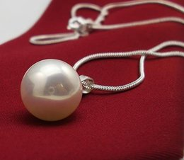 Wholesale South Sea Shell Pearls Wholesale - LUXURY natural AAA+16mm south sea white shell pearl pendant necklace