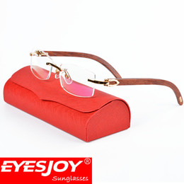 Wholesale Luxury Fashion Eyeglass Frame Brands - Gold Frame Glasses Luxury Fashion Wood Eyeglasses Reading Glasses Metal Frame Brand Designer Eyeglasses for men with Original Red Box