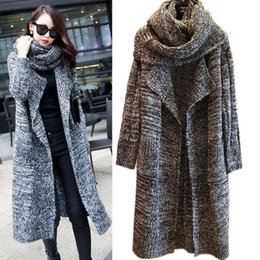 Wholesale Thick Cardigans For Women - Women coats new women's knee-long cardigan sweater for fall winter thick loose sweater coat winter coats for women WKS0024
