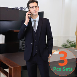 Wholesale Men Wool Dress Suits - Mens designer suits 3PCS set (suit + vest + pants) 2 color (black + Navy) high quality fabric wedding groom dress formal suits for men