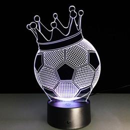 Wholesale Football Led Night Light - 2017 Football Crown 3D Optical Illusion Lamp Night Light DC 5V USB Charging AA Battery Wholesale Dropshipping Free Shipping