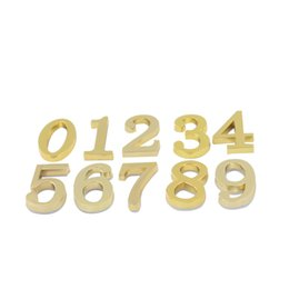 Wholesale Number Plate Stickers - Golden #0-9 House Hotel Door Address Plaque Number Digits Plate Sign Size 50x30mm Self Adhesive Sticker Convinient Room Gate Number