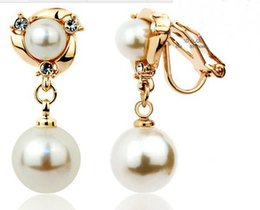 Wholesale Silver Screw Earring Prices - wholesale price pearl crystal Clip-on earring for women , gift gold plated Dangle earrings ,new 2013 style rose   silver color