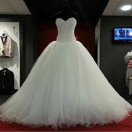 Wholesale Pink Heart Corset - 2016 New Ball Gown Wedding Dresses Bridal Gowns With Sweet-heart White Tulle Corset Back Beads Crystals Sweep Train Custom Made