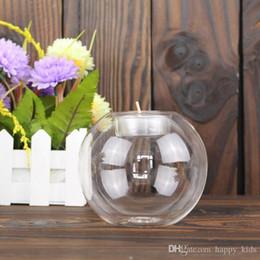 Wholesale Black White Candle Holders - Glass Candle Holder White Black Glass Ball Tealight Candle Holder Home Decoration Wedding Décor Glass Candlestick European Round Transparent