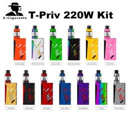 Wholesale E T Kits - 100% Authentic SMOK T-priv 220W Kit TFV8 Big Baby Tank 220W T-Priv TC Mod Hollow out Design E Cigarette Starter Kit