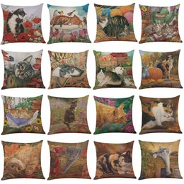 Wholesale Pillow Cover Green - Cute Illustration Cats Linen Cushion Cover Home Office Sofa Square Pillow Case Decorative Cushion Covers Pillowcases Without Insert