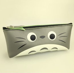 Wholesale Totoro Wallet Wholesale - Wholesale- NEW MY Neighbor TOTORO BIG SIZE 18*8CM PU Pen Pencil BAG Case Pouch ; Cosmetics Purse BAG & Wallet Coin Holder Pouch