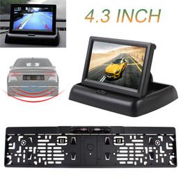 Wholesale Ir Frame - 4.3 Inch Foldable Car Monitor 12V TFT-LCD Display Car Parking Assistance + IR Light EU Car License Plate Frame Rear View Camera CMO_52A