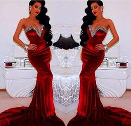 Wholesale Sleevless Party Dress - Red Mermaid Evening Dresses Long Sweetheart Sleevless Velvet Evening Dress Crystal Sweep Train Formal Women Special Occasion Party Gowns