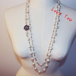 Longs pendentifs en perles d'imitation en Ligne-Cristal Perles Collier Pendentif pour Femmes Fleur Charmes Long Collier Chandail Bijoux Perle Coréenne Collier Costume De Noce Bijoux