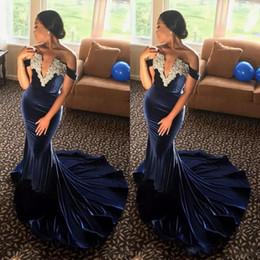 Wholesale Gold Velvet Drapes - Velvet African Formal Dresses Evening Wear Deep V Neck Off Shoulder Mermaid Prom Dress Appliques Beads holiday Party Dress vestidos festa