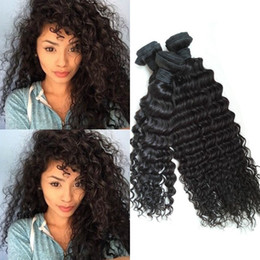 Wholesale Malaysian Deep Curls - Indian Curly Virgin Hair Only 3pc lot Indian Hair Deep Curly Weave 8-30 inch Black Raw Virgin Indian Hair deep Curl Weave G-EASY