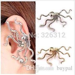 Wholesale Earring Hooks Men - Wholesale New Fashion women men accessories Jewelry Euro Punk style Gold Silver Octopus Ear Hook Ear Cuff Clip Earrings RJ3077 0416dd
