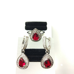 Wholesale Stylish Pearl Rings - The new jewelry set for women's 925 stylish RUBY EARRINGS RING SIZE 789 free jewelry boxes