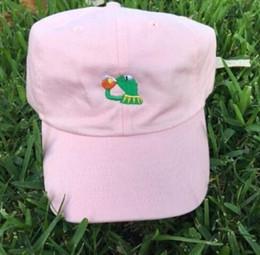 Cappello da tè Kermit The Frog Sorseggiando Bere Tè Baseball Dad Visor Cap Emoji New cheap green frog hats da cappelli di rana verde fornitori