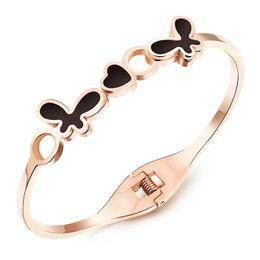 Wholesale Brilliant Love - Popular brilliant design Jewelry Women Lady Cuff Bangle stainless steel Butterfly love Heart Bracelet Cute Gifts