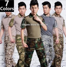 Wholesale Emerson Shirt Pants - Summer military uniform german multicam camo short sleeve combat shirt + emerson tactical pants army camouflage suit paintball clothing acu