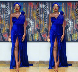 Wholesale Sexy Models Legs - Nigeria Model Piece Blue Velvet Mermaid To long Legs Open Fork And Sexy Arabic Special Prom Dress