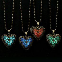 Wholesale Neclace Pendants - Wholesale-2016 New Statement Neclace Jewelry Hollow Out Heart Pendant Glow In Dark Long Necklace For Women Glowing Necklace Glow Locket